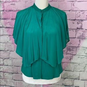 Anna Rita N green 100% silk layered blouse 40 4